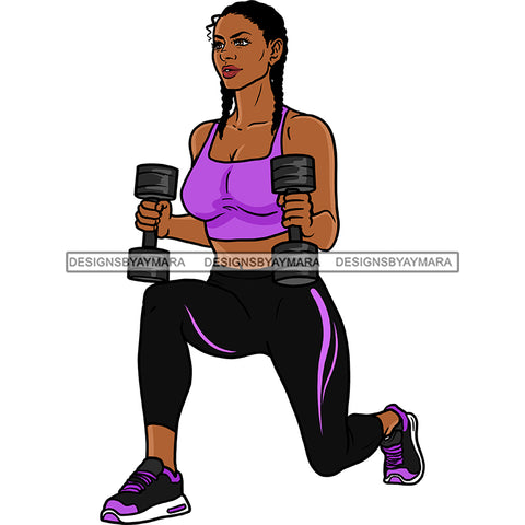 Black Woman  Working Out With Weights Purple Top   JPG PNG  Clipart Cricut Silhouette Cut Cutting