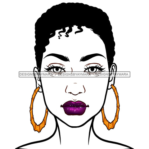 Short Hair Black Woman Wearing Purple  Lipstick JPG PNG  Clipart Cricut Silhouette Cut Cutting