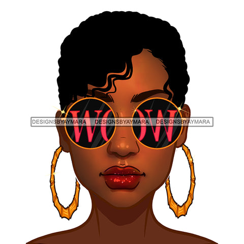 Diva With Short Hair Wearing Gold Round WOW Sunglasses JPG PNG  Clipart Cricut Silhouette Cut Cutting