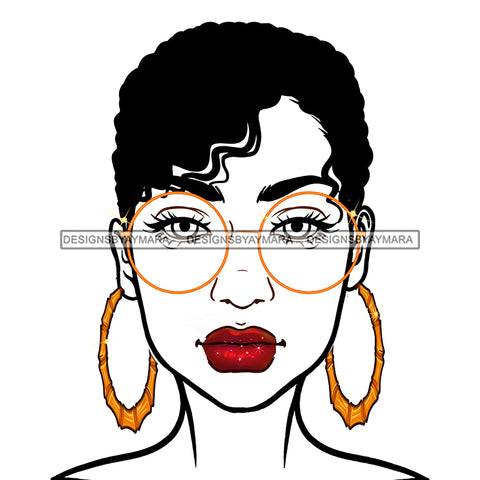 Diva With Short Hair Wearing Gold Round  Sunglasses JPG PNG  Clipart Cricut Silhouette Cut Cutting