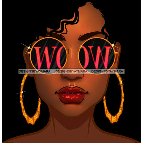 Diva With Short Hair Wearing Gold WOW Round  Sunglasses JPG PNG  Clipart Cricut Silhouette Cut Cutting