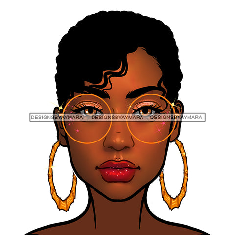 Short Haired Diva In Gold  Round  Sunglasses Round Gold Hoops JPG PNG  Clipart Cricut Silhouette Cut Cutting