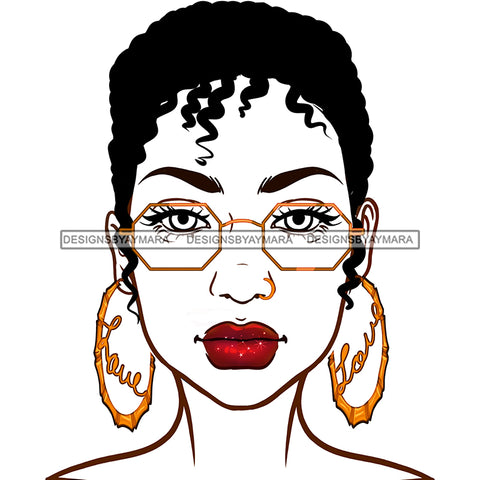 Short Haired Diva In Gold Glasses Gold Love Hoops JPG PNG  Clipart Cricut Silhouette Cut Cutting