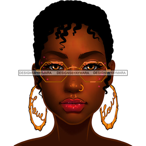 Brown Skin Short Haired Diva In Gold Glasses Gold Love Hoops JPG PNG  Clipart Cricut Silhouette Cut Cutting