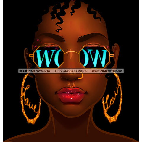 Brown Skin Short Haired Diva In Gold WOW In Blue Glasses Gold Love Hoops JPG PNG  Clipart Cricut Silhouette Cut Cutting