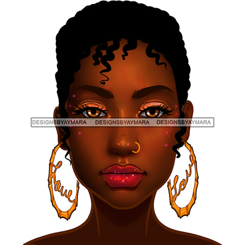 Brown Skin Short Haired Diva Wearing Gold Love Hoops JPG PNG  Clipart Cricut Silhouette Cut Cutting
