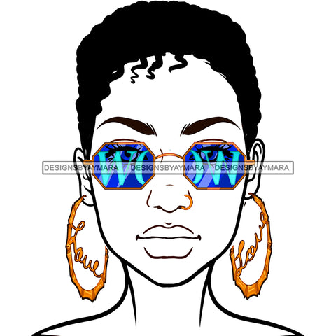 Short Haired Diva Wearing WOW In Blue Sunglasses Gold Love Hoops JPG PNG  Clipart Cricut Silhouette Cut Cutting