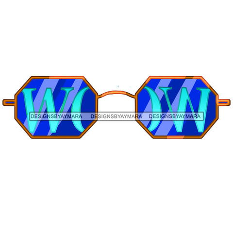 WOW In Blue Sunglasses Only JPG PNG  Clipart Cricut Silhouette Cut Cutting