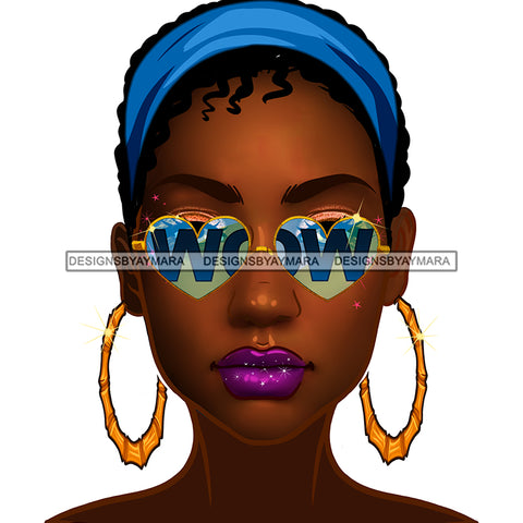 Brown Skin Diva Wearing Heart Shaped WOW In Blue Sunglasses And Blue Headwrap JPG PNG  Clipart Cricut Silhouette Cut Cutting