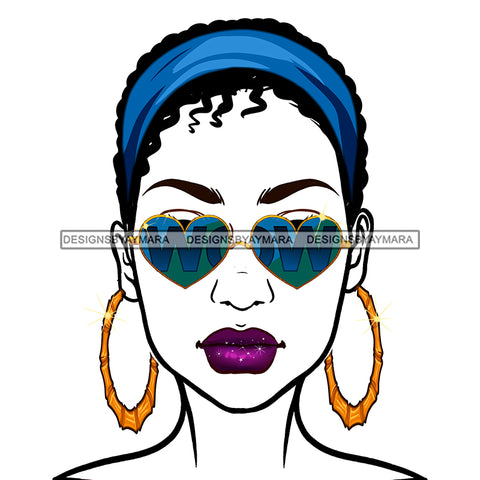 Diva Wearing Heart Shaped WOW In Blue Sunglasses And Blue Headwrap JPG PNG  Clipart Cricut Silhouette Cut Cutting