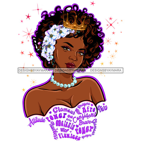 Black Queen Curly Hair With Crown White Flowers Pearls White Gown With Purple Words  JPG PNG  Clipart Cricut Silhouette Cut Cutting