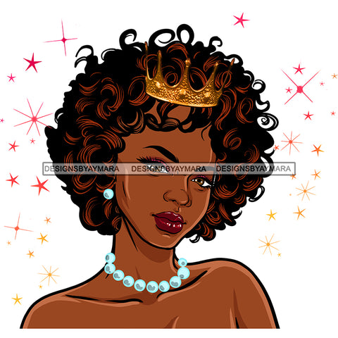 Black Queen Curly Hair With Crown And Pearls  JPG PNG  Clipart Cricut Silhouette Cut Cutting
