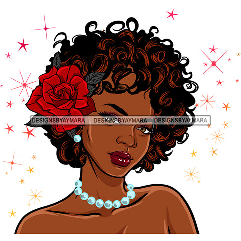 Black Queen Curly Hair With Red Rose Pearls   JPG PNG  Clipart Cricut Silhouette Cut Cutting