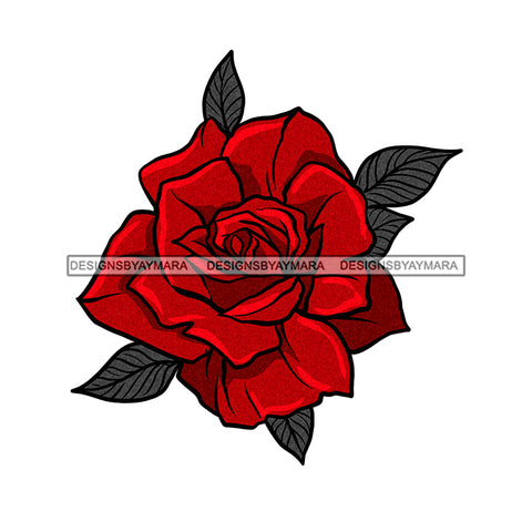 Pretty Red Rose Only  JPG PNG  Clipart Cricut Silhouette Cut Cutting