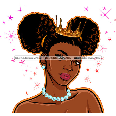 Brown Skin Queen With Crown And Pearls JPG PNG  Clipart Cricut Silhouette Cut Cutting