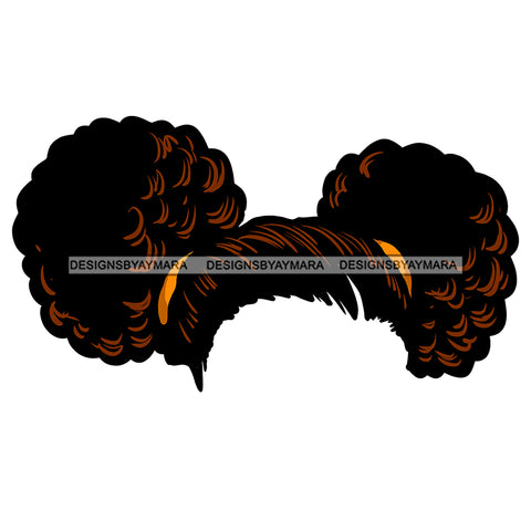 Two Brown Buns Hair Only JPG PNG  Clipart Cricut Silhouette Cut Cutting