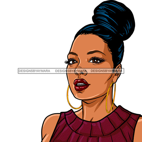Black Woman Hair In Bun In Burgundy  JPG PNG  Clipart Cricut Silhouette Cut Cutting