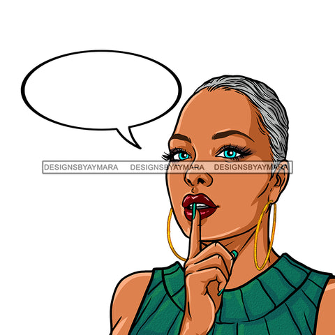 Black Woman Short Gray Hair With Conversation Bubble JPG PNG  Clipart Cricut Silhouette Cut Cutting