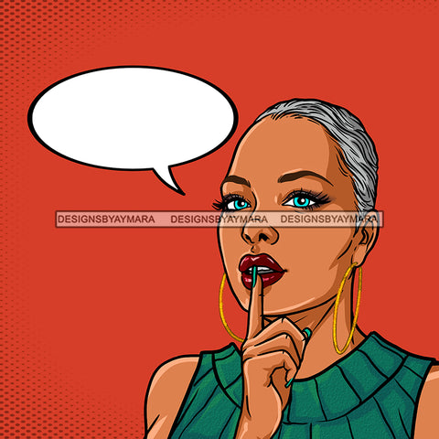 Black Woman Short Gray Hair With Conversation Bubble Color Background JPG PNG  Clipart Cricut Silhouette Cut Cutting