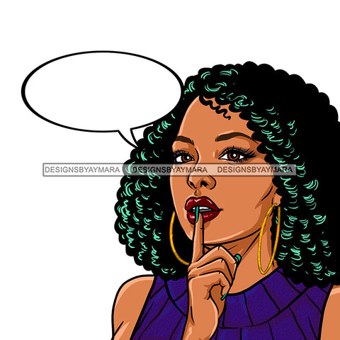 Black Woman Curly Hair With Conversation Bubble Purple Dress JPG PNG  Clipart Cricut Silhouette Cut Cutting