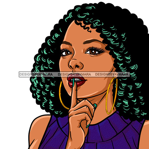 Black Woman Curly Hair Purple Dress JPG PNG  Clipart Cricut Silhouette Cut Cutting