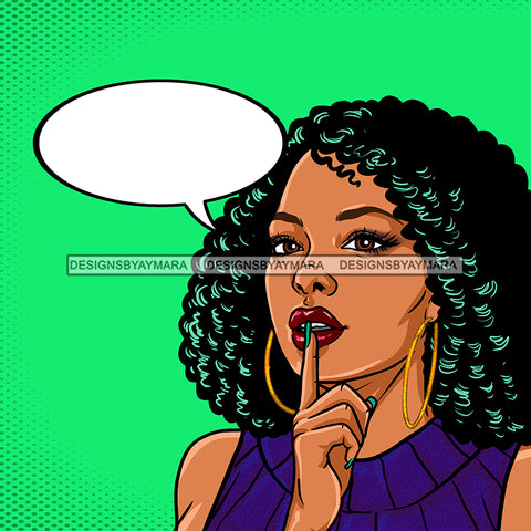 Black Woman Curly Hair Purple Dress Green Background With Conversation Bubble JPG PNG  Clipart Cricut Silhouette Cut Cutting