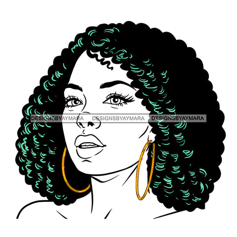 Black Woman Curly Hair Purple Dress No Color JPG PNG  Clipart Cricut Silhouette Cut Cutting