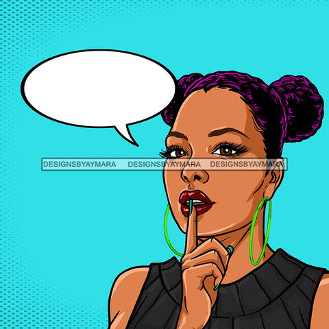 Black Woman Purple Hair In 2 Buns Conversation Bubble With Blue Background JPG PNG  Clipart Cricut Silhouette Cut Cutting