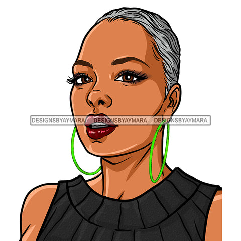 Black Woman With Short Gray Hair In Gray Black Dress JPG PNG  Clipart Cricut Silhouette Cut Cutting