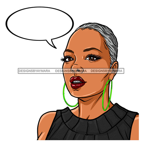 Black Woman With Short Gray Hair In Gray Black Dress Conversation Bubble JPG PNG  Clipart Cricut Silhouette Cut Cutting