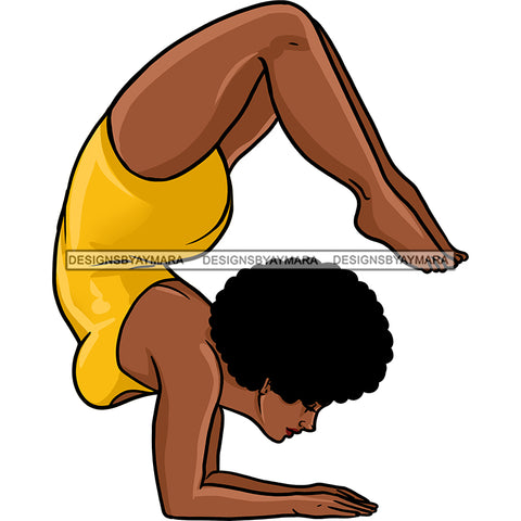 Black Woman Working Out In Yellow Outfit JPG PNG  Clipart Cricut Silhouette Cut Cutting