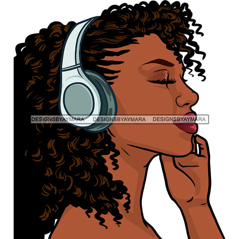 Curly Haired Black  Woman Wearing Blue Headphones JPG PNG  Clipart Cricut Silhouette Cut Cutting