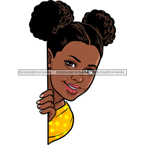 Peek A Boo Black Woman Hair In Buns Yellow Top  JPG PNG  Clipart Cricut Silhouette Cut Cutting