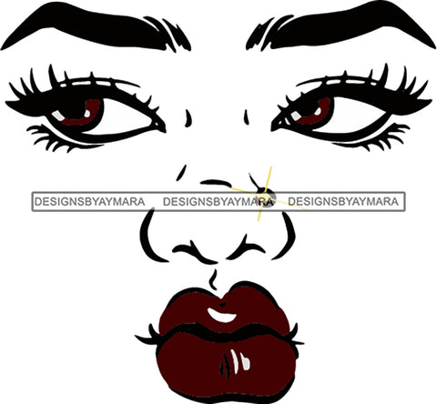 Afro Black Woman Face Outline Nose Piercing B/W SVG Cutting Files For Silhouette Cricut More