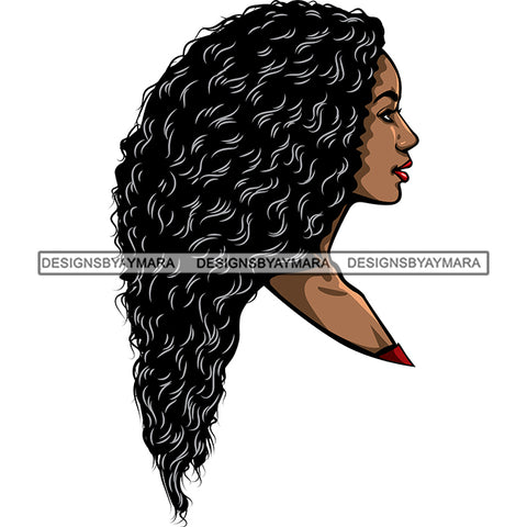 Black Woman With Long Wavy Hair Head SVG JPG PNG Vector Clipart Cricut Silhouette Cut Cutting