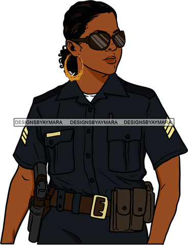 Black Woman Afro Police Officer Boss Lady Holster Uniform Portrait Strong Sexy Woman Sunglasses Bamboo Hoop Earrings Curly Hair Style  SVG Cutting Files For Silhouette  Cricut