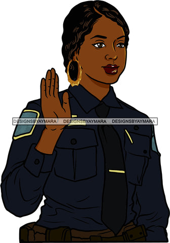 Black Woman Afro Police Officer Boss Lady Holster Portrait Strong Sexy Woman Bamboo Hoop Earrings SVG Cutting Files For Silhouette  Cricut