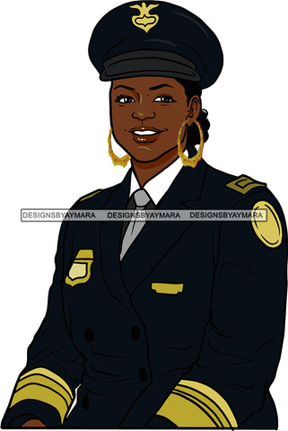 Black Woman Afro Police Officer Boss Lady Uniform Badge Portrait Strong Sexy Woman Bamboo Hoop Earrings SVG Cutting Files For Silhouette  Cricut