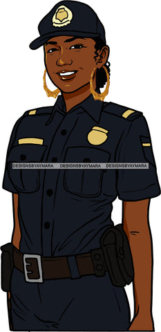Black Woman Afro Police Officer Boss Lady Holster Uniform Portrait Strong Sexy Woman Bamboo Hoop Earrings SVG Cutting Files For Silhouette  Cricut