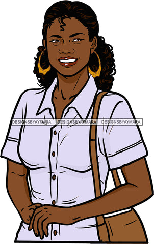 Afro Black Woman  Mail Post Office Postal Courier Business Service Parcel Worker Bamboo Hoop Earrings SVG Cutting Files For Silhouette and Cricut