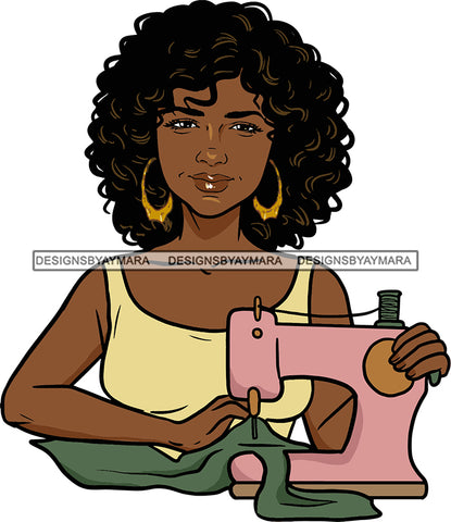 Afro Black Woman Seamstress Tailor Dressmaker Clothier Scissors Worker Bamboo Hoop Earrings Afro Hair Style SVG Cutting Files For Silhouette and Cricut