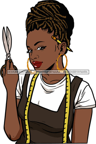 Afro Black Woman Seamstress Tailor Dressmaker Clothier Scissors Worker Bamboo Hoop Earrings Short Hair Style SVG Cutting Files For Silhouette and Cricut