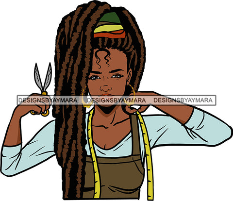 Afro Black Woman Seamstress Tailor Dressmaker Clothier Scissors Worker Bamboo Hoop Earrings Dreadlocks Hair Style SVG Cutting Files For Silhouette and Cricut