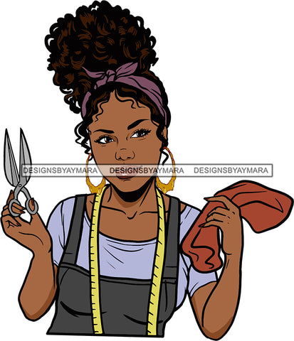 Afro Black Woman Seamstress Tailor Dressmaker Clothier Scissors Worker Bamboo Hoop Earrings Up Do Hair Style SVG Cutting Files For Silhouette and Cricut