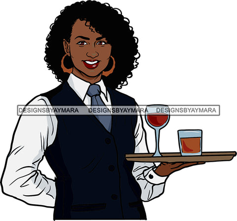 Afro Black Woman Cocktail Waitress Server Beverage Food Service Bamboo Hoop Earrings Afro Hair Style SVG Cutting Files For Silhouette and Cricut