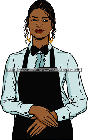 Afro Black Woman Cocktail Waitress Server Beverage Food Service Bamboo Hoop Earrings Curly Hair Style SVG Cutting Files For Silhouette and Cricut