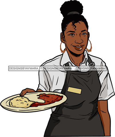 Afro Black Woman Cocktail Waitress Server Beverage Food Service Bamboo Hoop Earrings Up Do Hair Style SVG Cutting Files For Silhouette and Cricut