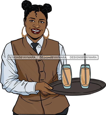 Afro Black Woman Cocktail Waitress Server Beverage Food Service Bamboo Hoop Earrings Banku Knots Hair Style SVG Cutting Files For Silhouette and Cricut