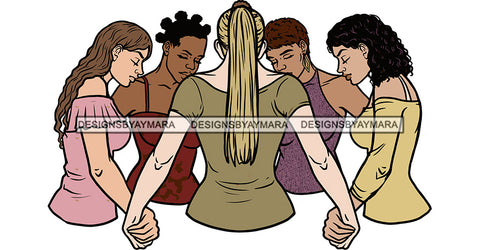 Afro Black White Women Praying God Togetherness Religious Unity Faith  SVG Cutting Files For Silhouette Cricut
