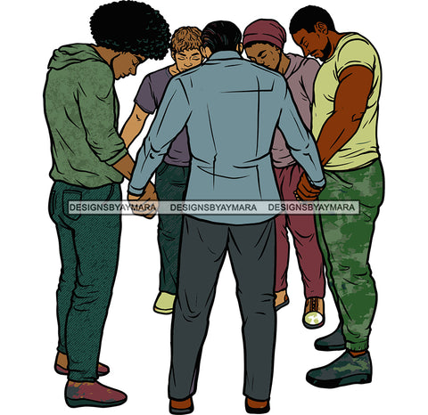 Afro Black White Men Praying God Togetherness Religious Unity Faith  SVG Cutting Files For Silhouette Cricut